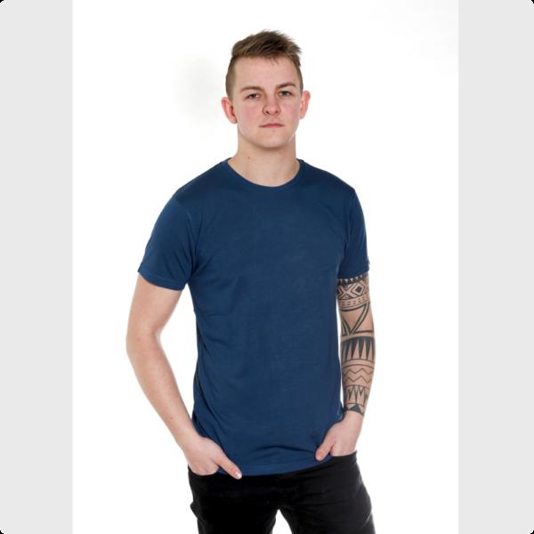 Blå-bambus-t-shirt